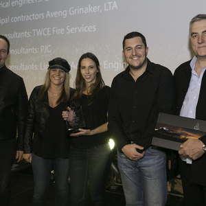 Claire D'Adorante, Kirsty Schoombie and Dale Friedman accept the Award For Sasol Interiors