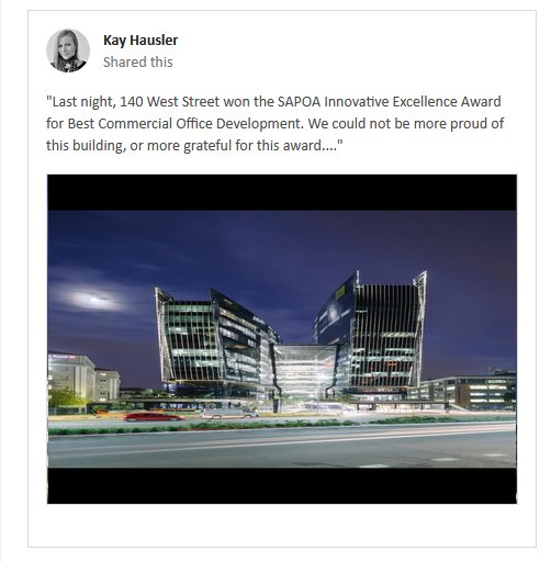 140 West Street wins SAPOA Innovative Award for Best Commercial Development